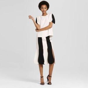 VICTORIA BECKHAM  Striped Scalloped Midi Skirt